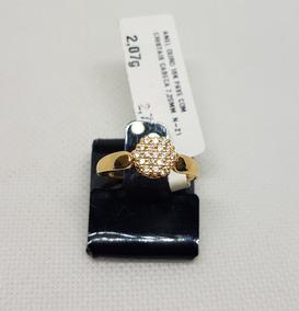 Anel Em Ouro 18k 750 Chuveiro Com Pedras De Zirconia 2,07g
