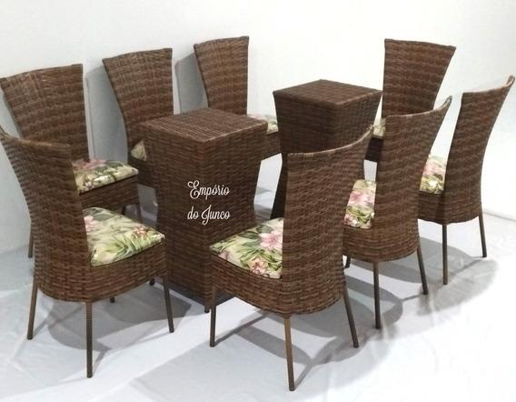 Mesa De Fibra Sintética Com 8 Cadeiras, Vidro Não Incluso