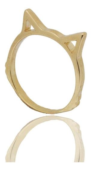 Anel Orelha Gato Vazado Luxo Fino Delicado Banhado Ouro 18k