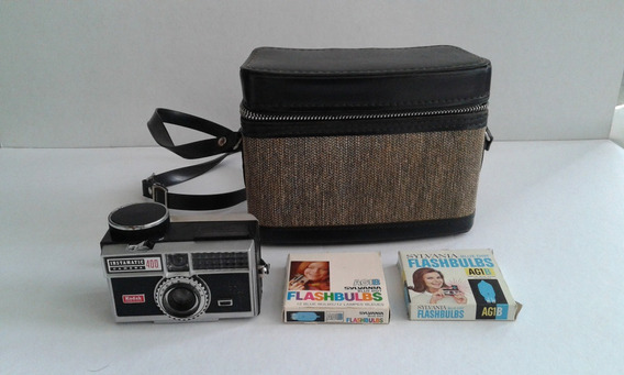 Cámara Kodak Instamatic 400 Con Estuche Y Flash De Los 60s