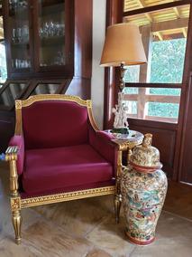 Poltrona Luxo Estilo Luis Xvi Veludo Burgundy Folheação Ouro