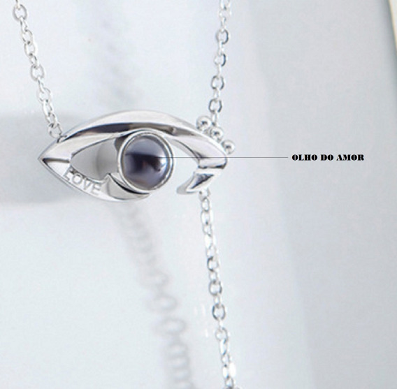 Conj.olho Do Amor Frase Eu Te Amo+100 Idiomas Metal Prata925