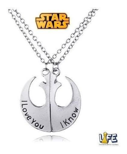 Colar Star Wars Aliança Rebelde Casal Princesa Solo Leia/han