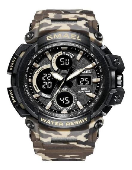 Relógio Militar Smael Analógico Digital Camuflado Gamo B