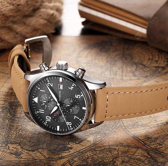 Relógio Masculino Couro Legítimo Original 100% Funcional