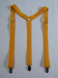 Tirador Pantalón Suspenders Unisex Pinza Mad Amarill Oro 3cm