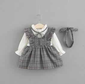 Vestido Infantil Bebê De Inverno Manga Longa Xadrez