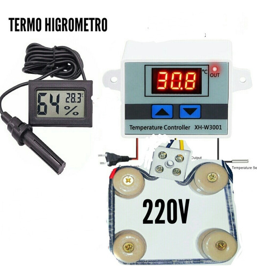 Kit Para Chocadeira 220v Termostato Resistencia Medidor Umd