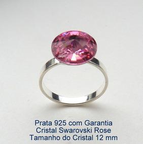 Anel De Prata 925 Com Garantia Cristal Swarovski 12 Mm 7900