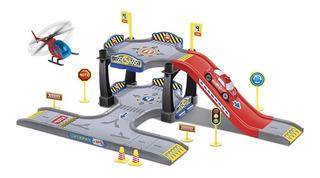 Brinquedo Pista Carrinho Base De Bombeiro Com Helicoptero