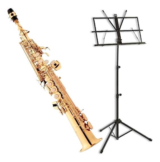 Saxofone Eagle Soprano Sib Sp502 + Estante De Partitura