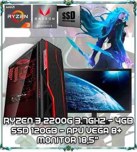 Cpu Pc Gamer Ryzen 3 2200g Quad Core 3.7ghz 4gb Ddr4 Tela 18