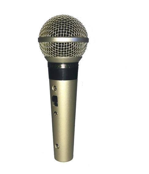 Microfone Dinâmico Leson Com Fio, Sm58 Plus - Metálico