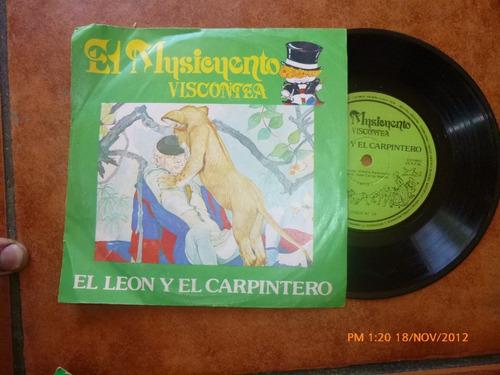 Vinilo Single Del Cuento El Leon Y El Carpintero (ac146