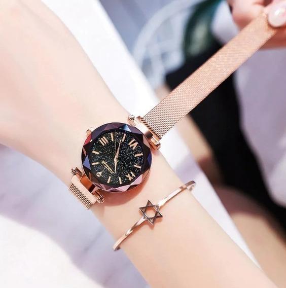 Relógio Feminino De Pulso Céu Estrelado Barato Promoção
