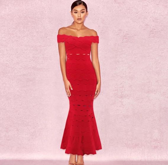 Vestido Mujer Largo Fiesta Boda Herve Bandage Rojo Xs S M L