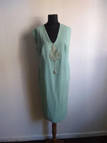 Vestido De Fiesta Verde Agua Con Bordado