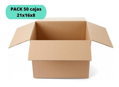 Cajas De Cartón 21x16x8 / Pack 50 Cajas / Cart Paper
