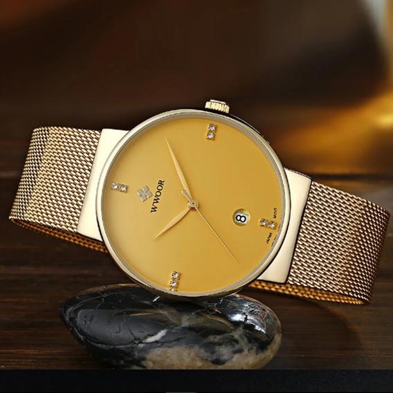 A) Relógio Wwoor Mod.8018 Masculino Frete Grátis Promoção