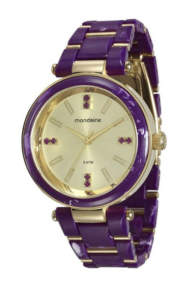 Relógio Mondaine Feminino Dourado E Uva 76637lpmvdz2