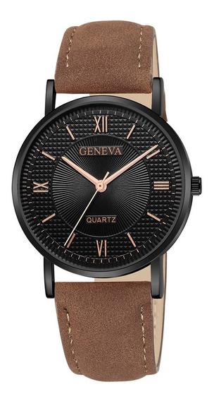 Relógio Geneva Pulseira Couro Fino Luxo 50%off Pronta Entreg