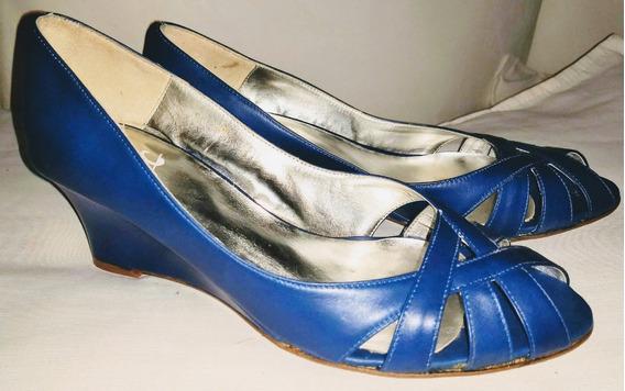 Zapato De Cuero Taco Chino Azul 36 Comodisimo !!!!