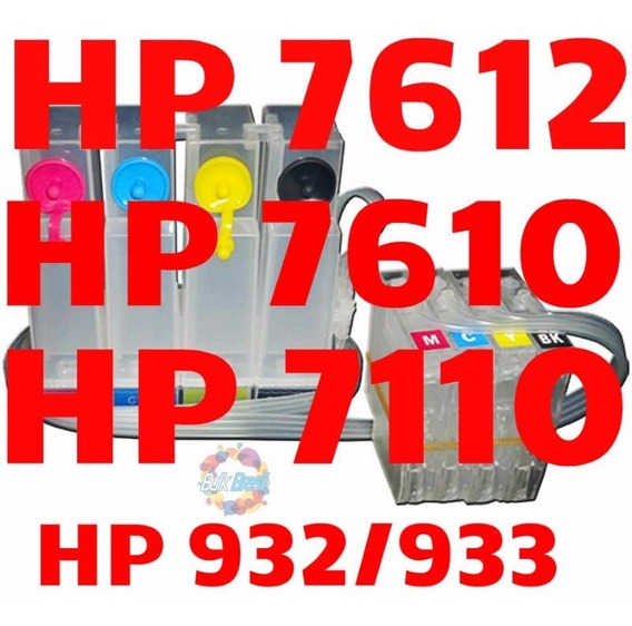 Bulk Ink Completo Hp 7110 7610 7612 C/ Cartucho E Chip Full