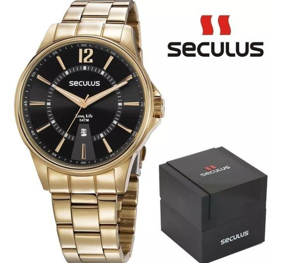 Relógio Masculino Seculus Aço Visor Preto Calendário Dourado