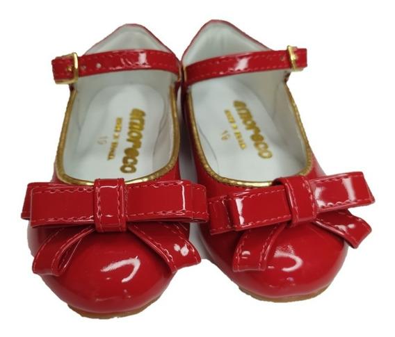 Sapato Infantil Feminino Amoreco Vermelho Festa 82062