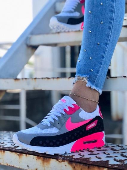 Zapatos Tenis Nike Air Max 90 Gris Rosado Dama Envio Gratis