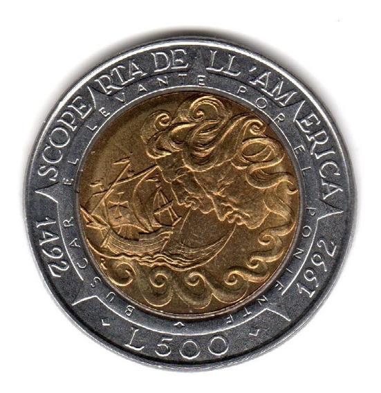 Bkz / San Marino - 500 Liras 1992 Bimetálica 500 Aniv. Desc.