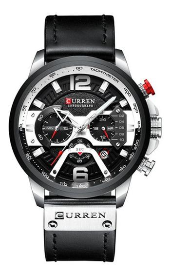 Relógio Multifunções Calendário Curren 8329 - Preto/prat
