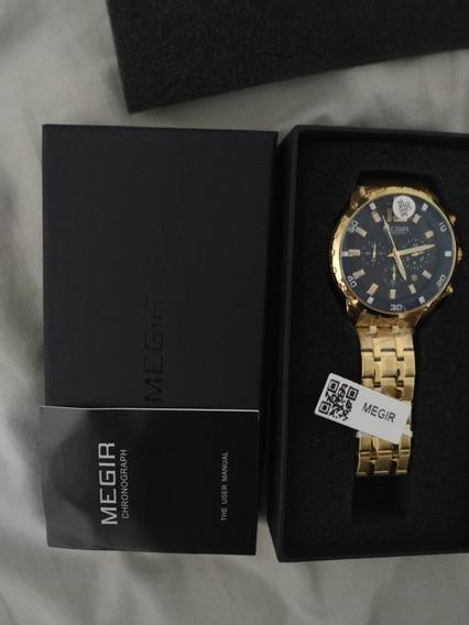 Relógio Megir 2068 Dourado, Lacrado!