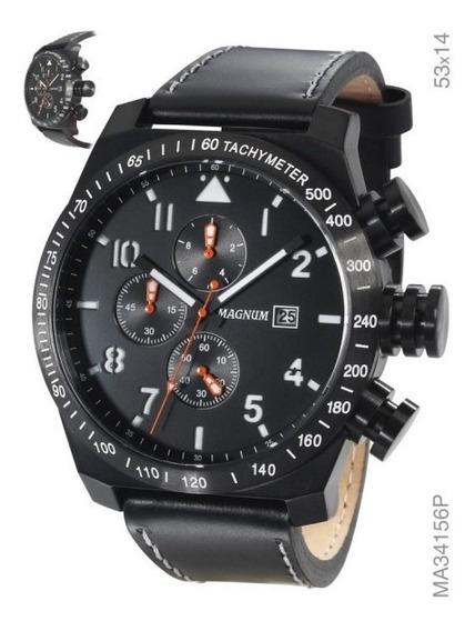 Relógio Magnum Ma34156p Pulseira Couro