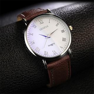 Relógio Luxo Marca De Quartzo, Pulseira Couro, Executivo