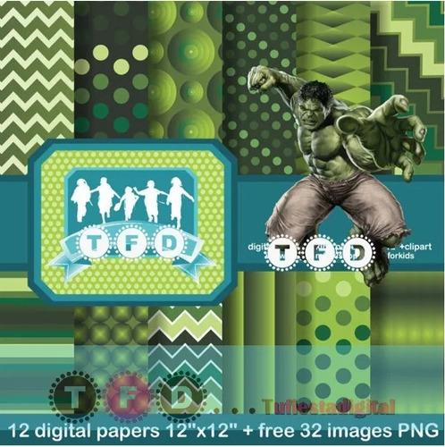 Kit Imprimible Fondos Hulk Papel Digital Clipart Avengers