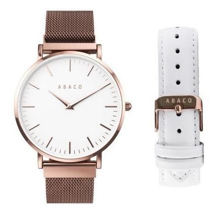 Reloj Mujer Sumergible Pulsera De Vestir Acero Cuero Abaco