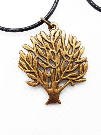 Colar Pingente Metal Árvore Roots