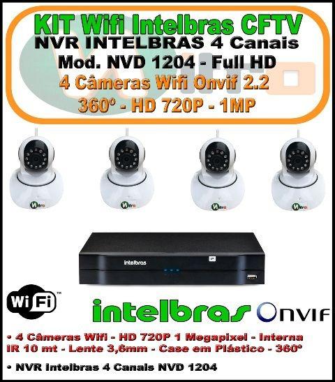 Kit Intelbras 4 Ch Nvd 1204 - 4 Câm Ip Wifi 1 Mp 720p 360º