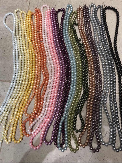 5 Tiras De Perlas De Colores! 8mm. Aprox 100 Perlas! Oferta!