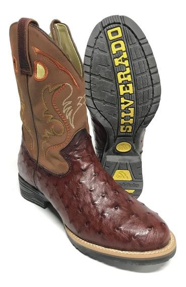 Bota Texana Country Masculina Silverado Couro De Avestruz