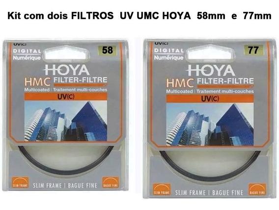 Kit Com Dois Filtros Uv Hmc Hoya 77mm E 58mm