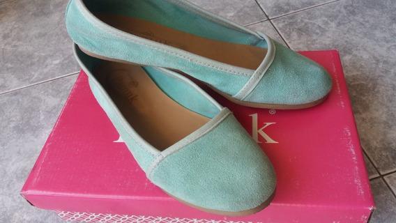 Zapatos Chatitas Verde Agua Talle 38, Suela De Goma