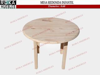 Mesa Redonda Infantil De 60 Diametro Pino Roka