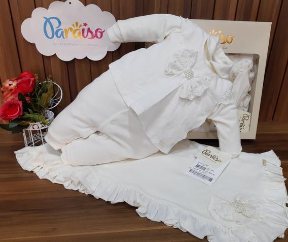 Saida Maternidade Luxo Paraiso Bebê Menina Suedini Macacao Enxoval Batizado Num 9068