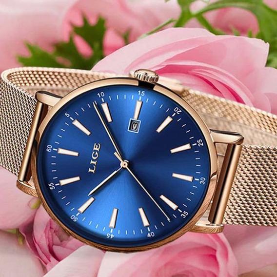 Relógio Feminino Lige Rose Quartzo De Luxo Original