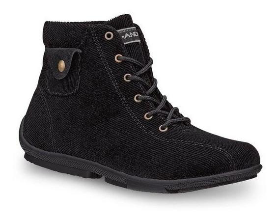 Botines Zapatos De Piso Andrea Para Dama De Pana Negros
