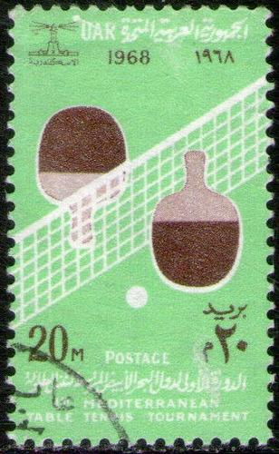 Egipto Sello Usado 1° Torneo Mediterráneo De Ping-pong 1968