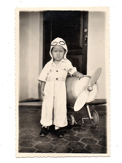 Fotografia Antiga Menino Pequeno Aviador Pedal Car - Anos 40
