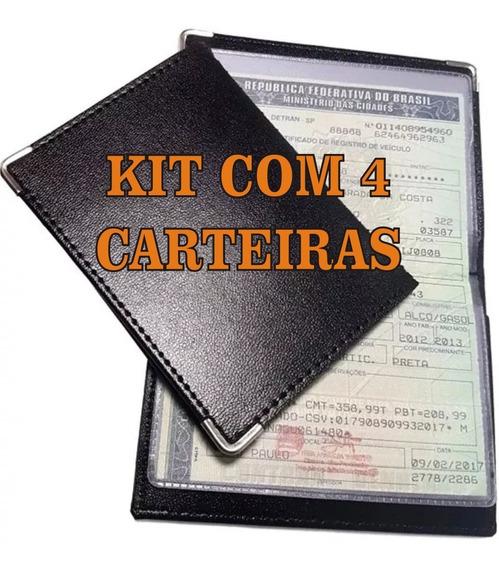 Kit 4 Carteiras Couro Porta Documentos Carro Moto Cartões